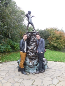 peter pan statue, Kennington gardens, london, gay honeymoon, husband&husband, jonathan l. ferrara, aaron ferrara, England, J.M. Barrie