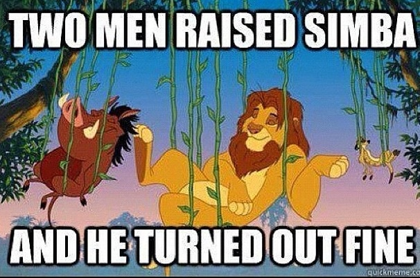 Who says two guys can't be Parents? Simba turned out fine : )